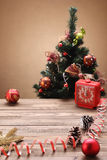 Christmas wooden background with  fir tree,  clock . Royalty Free Stock Images