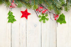 Christmas wooden background with fir tree and decor Royalty Free Stock Image