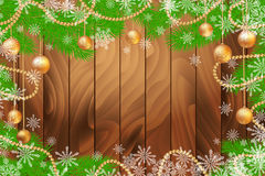 Christmas wooden background with fir tree and glass balls. Christmas wooden background with fir tree and glass Christmas balls. Vector illustration with place Stock Photography