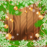 Christmas wooden background with fir tree and glass balls. Christmas wooden background with fir tree and glass Christmas balls. Vector illustration with place Royalty Free Stock Images
