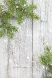 Christmas wooden background with fir tree. Top view copy space Royalty Free Stock Photos