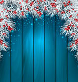 Christmas Wooden Background with Fir Tree Twigs Royalty Free Stock Image