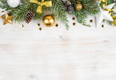 Christmas wooden background with frosted fir tree, view with copy space.  Stock Photo