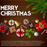 Christmas wooden background with gift box and christmas elements. Illustration of Christmas wooden background with gift box and christmas elements Stock Photos