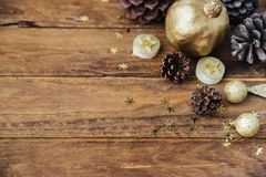 Christmas wooden background gold decorations stock image