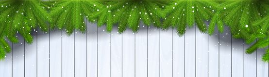 Christmas Wooden Background With Green Fir Branches And Snowflakes Horizontal Banner Royalty Free Stock Image