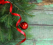 Christmas wooden background is green fir tree Royalty Free Stock Image