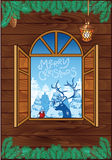 Christmas wooden background with old window Stock Photo
