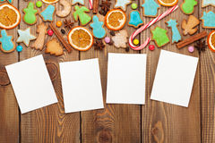 Christmas wooden background with photo frames Royalty Free Stock Image