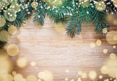 Christmas wooden background with pine Stock Photos