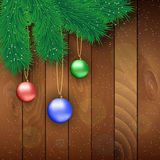 Christmas wooden background with red ball. Christmas card with red , blue and green glass balls, fur branches at wooden background, Vector illustration, template stock illustration