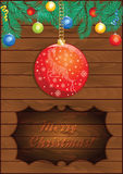 Christmas Wooden Background with Red Ball Royalty Free Stock Photo