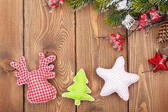 Christmas wooden background with snow fir tree and decor Stock Photo