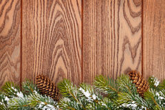 Christmas wooden background with snow fir tree Stock Image