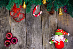 Christmas wooden background with snow fir tree. View copy space Royalty Free Stock Images