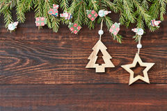 Christmas wooden background with star and Christmas tree. New year. Copy space Royalty Free Stock Photos