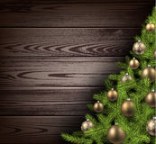 Christmas wooden background. With christmas tree. Vector illustration stock illustration