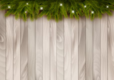 Free Christmas Wooden Background With Branches And Baubles. Royalty Free Stock Images - 47009139