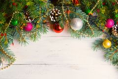 Christmas Wooden Background With Snow Branch. Top View With Copy Space For Your Text Royalty Free Stock Photos