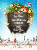 Christmas Wooden banner. EPS 10 Royalty Free Stock Images