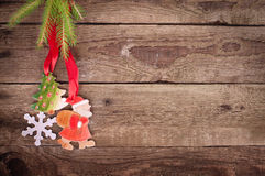 Christmas wooden board Stock Photos