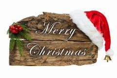 Christmas wooden board sign stock photos
