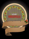 Christmas wooden border and banner Stock Images