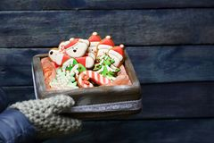 Christmas wooden box with cookies Stock Photography