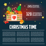 Christmas wooden box with fruit and dessert infographics Royalty Free Stock Image
