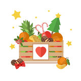 Christmas wooden box  on white background. Box with fruit and dessert in a flat style. The background of fresh, natural foods. Cart with product buy in Stock Image