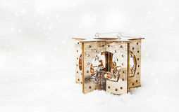 Christmas Wooden Candle Holder in the Snow Royalty Free Stock Image