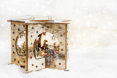 Christmas Wooden Candle Holder in the Snow Royalty Free Stock Images