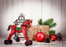 Christmas wooden decoration in retro style new year Royalty Free Stock Images