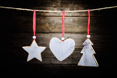 Christmas wooden decorations Royalty Free Stock Photography