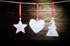 Christmas wooden decorations Royalty Free Stock Image
