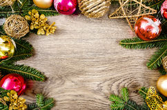 Christmas wooden frame Royalty Free Stock Photos