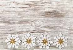Christmas Wooden Grunge Background, Snowflake Toy Decoration, Wh Royalty Free Stock Photo
