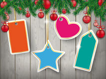 Christmas Wooden Header Fir Twigs Red Baubles Price Stickers Stock Photography