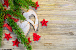 Christmas Wooden Heart Star Stock Image