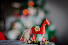 Christmas wooden horse. Standing on wheels Stock Photography