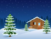 Christmas wooden house with fir trees royalty free illustration