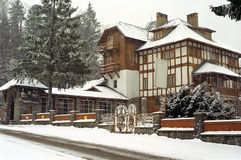 Christmas at Wooden house, Predeal. Architecture of romanian house from mountain resort stock images