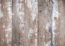 Christmas wooden planks background with falling snow Royalty Free Stock Photos