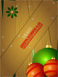 Christmas wooden portrait panel with baubles Stock Photo
