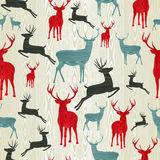 Christmas wooden reindeer pattern Stock Photos