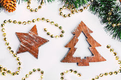 Christmas wooden shapes Royalty Free Stock Photos