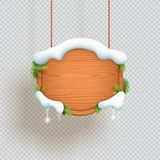 Christmas Wooden Sign Hanging With Snow And Fir
