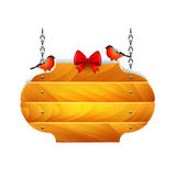 Christmas wooden sign with bullfinches isolated vector. Oval christmas wooden sign with bullfinches isolated vector Royalty Free Illustration