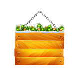 Christmas wooden sign on chain isolated vector Royalty Free Stock Image