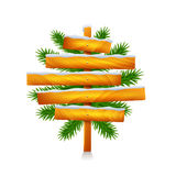Christmas wooden sign from five planks isolated vector Royalty Free Stock Photos